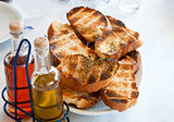 pile toasted bread