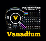 Periodic Table of the element. Vanadium, V
