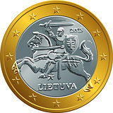 lithuanian euro gold money coin