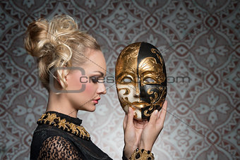 antique lady with mask