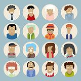 Set of people icons in flat style with faces. Vector men and wom
