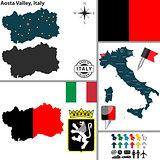 Map of Aosta Valley, Italy