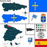 Map of Asturias, Spain