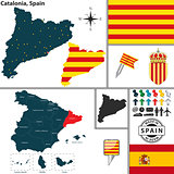 Map of Catalonia, Spain