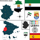 Map of Extremadura, Spain