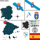 Map of Galicia, Spain