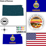 Map of state Kansas, USA
