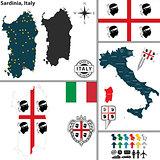 Map of Sardinia, Italy