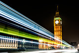 Night view of Big Ben at Westminster in London