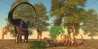 Apatasaurus fights Ceratosaurus