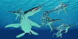 Liopleurodon attacks Eurhinosaurus