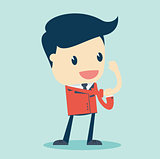Cartoon Illustration of a Speaking Businessman Roll Up Their Sleeves. Vector Illustration.