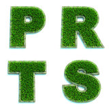 Letters P, R, T, S as Lawn - Set of 3d.