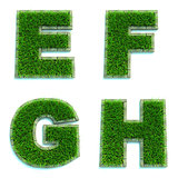 Letters E, F, G, H as Lawn - Set of 3d.