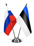 Russia and Estonia  - Miniature Flags.