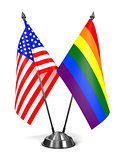 USA and Rainbow Gay Pride - Miniature Flags.