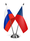 Russia and Czech Republic  - Miniature Flags.