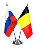 Russia and Belgium  - Miniature Flags.