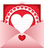 Open envelope with heart postcard
