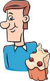 man with cupcake cartoon