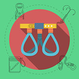 Flat design vector illustration for rock climbing. Harness
