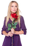 Gentle woman with red rose