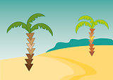 Desert illustration with palms