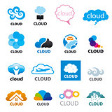 big set of vector logos cloud