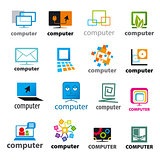 big set of vector logos Computers