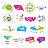 big set of vector logos thank you
