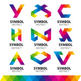 collection of vector logos from abstract modules