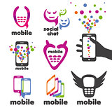 set of vector logos mobile and smartphones