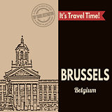 Brussels, retro touristic poster
