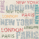 Typographic poster design with city names London, Paris and New York