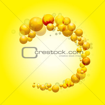 3D sphere border on yellow background