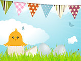 Easter chick and bunting