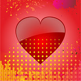 Love heart on abstract red background