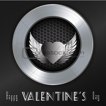 Valentine brushed metallic background with message