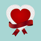 Valentine heart card and ribbon