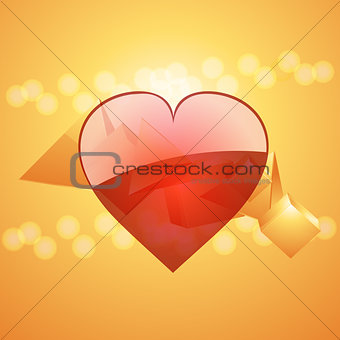 Valentine heart on 3D glass pyramid background