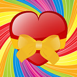 Valentine heart with bow on swirl background