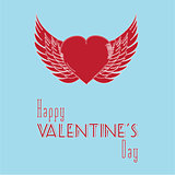 Valentine heart with wings and message background
