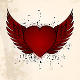 Valentine heart with wings grunge background