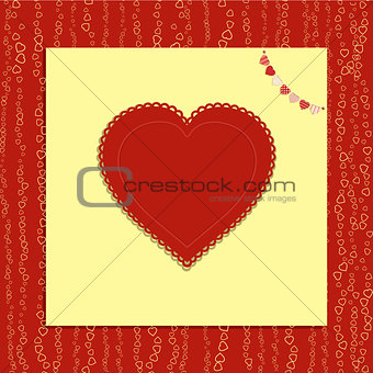 Valentine love heart with bunting on red background