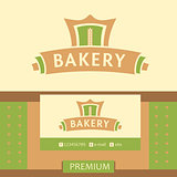 Vector logo for a bakery, macaroni factory. Vector logo for a bakery, macaroni factory. Image process rolling out dough
