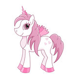 Vector illustration of cute horse princess, royal pony, fairy foal with wings