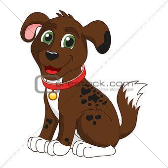 Cartoon smiling dark brown spotty puppy