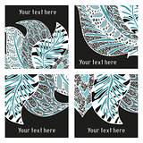 Set of vector modern posters with amazing feathers