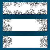Floral banners set with flowers and berries