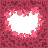 Romantic background with heart wreath